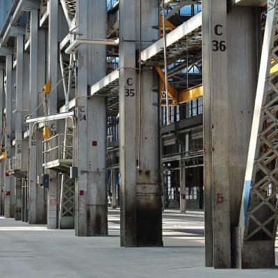 Metal columns in an industrial building.